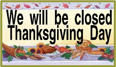 Closed Thanksgiving sign